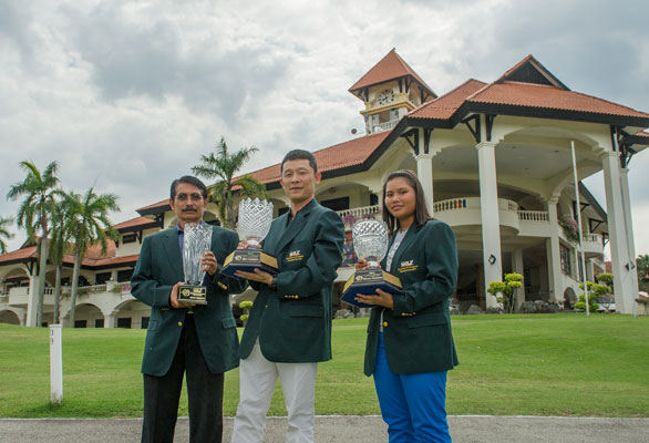 From left: Amir Zaki Ikham, Kuala Kubu Bahru GC, Senior Champion, Kevin Lim Bu Keong, KGSAAS, Men's Champion and Qistina Balqis, Johor G&CC, Ladies Champion.