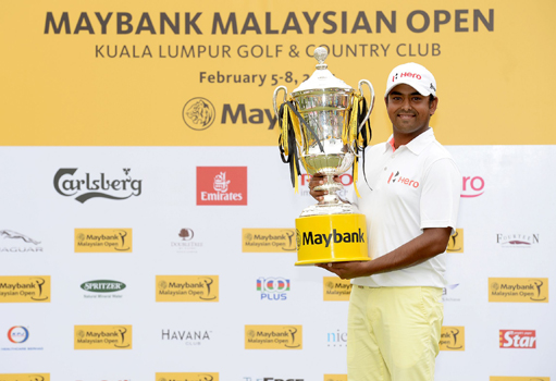 Anirban Lahiri with the Seagram trophy.